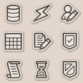 Database web icons, brown contour sticker series Royalty Free Stock Image