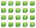 Database web icons, green sticker series Stock Photos