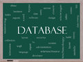 Database word cloud concept on a blackboard with great terms such as security server software design and more Royalty Free Stock Photo