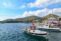 Datca sea port with fishing boat. Royalty Free Stock Photo