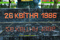 The date of chernobyl catastrophe on the stone written in ukrainian black Royalty Free Stock Photos