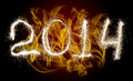 Date new year of photo sparkle bengal light on background with flame collage of figure Stock Image