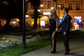 Date night walk in the city Royalty Free Stock Photo