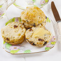 Date Scones with Butter Royalty Free Stock Photo