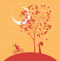 Date under the moon two lovers a tree at night Stock Images