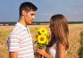 Date in a wheat field Royalty Free Stock Photo