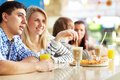 Dates in cafe image of teenage couple spending time Royalty Free Stock Photo