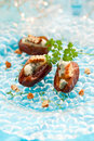Dates stuffed with blue cheese Royalty Free Stock Image