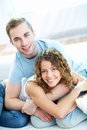 Dates young happy couple looking at camera Royalty Free Stock Photos