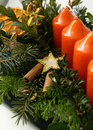 Datil to cinnamons and star on advent wreaths Stock Photos