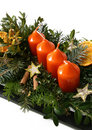 Datil to cinnamons and star on advent wreaths Royalty Free Stock Photos