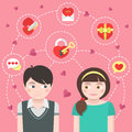 Dating concept conceptual illustration of children in love with symbols Royalty Free Stock Images