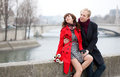 Dating couple in Paris at winter or spring Stock Images