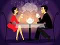 Dating couple scene love confession vector illustration Royalty Free Stock Photos