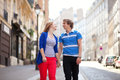 Dating couple walking together Stock Images