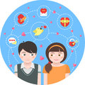 Dating round concept conceptual illustration of children in love with symbols Royalty Free Stock Photos