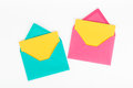 Dating two envelopes pink and blue on background Royalty Free Stock Photography