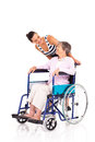 Daughter disabled mother Stock Photography