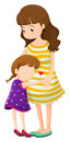 A daughter hugging her mother illustration of on white background Royalty Free Stock Image