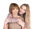 Daughter and mother portrait of happy on white Royalty Free Stock Photos