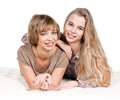 Daughter and mother portrait of happy on white Royalty Free Stock Image