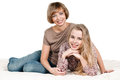Daughter and mother portrait of happy on white Stock Photography