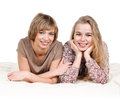 Daughter and mother portrait of happy on white Stock Image