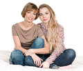 Daughter and mother portrait of happy on white Royalty Free Stock Photo