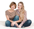 Daughter and mother portrait of happy on white Stock Photo