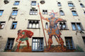 David and Goliath fresco ,Regensburg, Germany Royalty Free Stock Photos