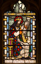 David King of Israel Stained Glass Window Stock Photo