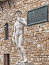 David of michelangelo in florence italy copy statue by piazza della signoria tuscany Stock Photography