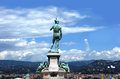 David statue at piazzale michelangelo and panoprama florence italy Stock Photos