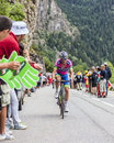 Davide cimolai climbing alpe d huez france july the italian cyclist from lampre merida team the difficult road to Royalty Free Stock Image