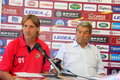 Davide nicola and aldo spinelli image of coach president of as livorno soccer team league a Stock Image