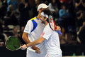 Davis Cup: Romanian tennis players are celebrating the victory Stock Photo