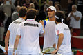 Davis Cup: Romanian tennis players are celebrating the victory Royalty Free Stock Image
