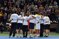 Davis Cup: Romanian tennis players are celebrating the victory Stock Image