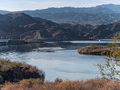 Davis dam and lake mohave on the colorado river at Royalty Free Stock Photo