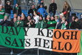 Davy keogh says hello poznan poland november flag hung by irish fans before friendly football match between poland and ireland on Royalty Free Stock Photos