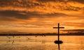Dawn Birds Flight Cross Royalty Free Stock Photo