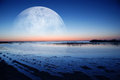 Dawn coast the of moonlight Royalty Free Stock Photo