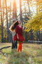 Dawn, a girl dancing in the forest Royalty Free Stock Photo