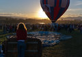Dawn at the great reno balloon race crowd waits for a to ascend Stock Photo