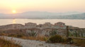 Dawn over the island and city of marseille on horizon Royalty Free Stock Photo