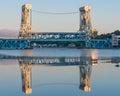 Dawn at portage lake houghton hancock lift bridge hancock mi from bridgeview park michigan Stock Images