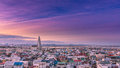 Dawn in reykjavik iceland shot from the roof of the tallest tower the downtown area Royalty Free Stock Photo