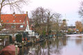 Dawn on the river in Dutch town Loenen. . Royalty Free Stock Photo