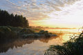 Dawn on the river early in morning Royalty Free Stock Images