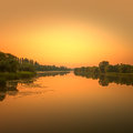 Dawn on the river Royalty Free Stock Photo